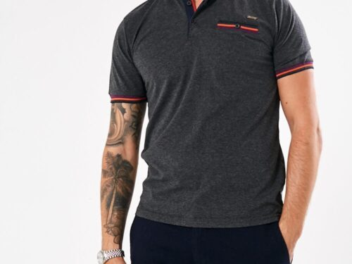 grey polo top