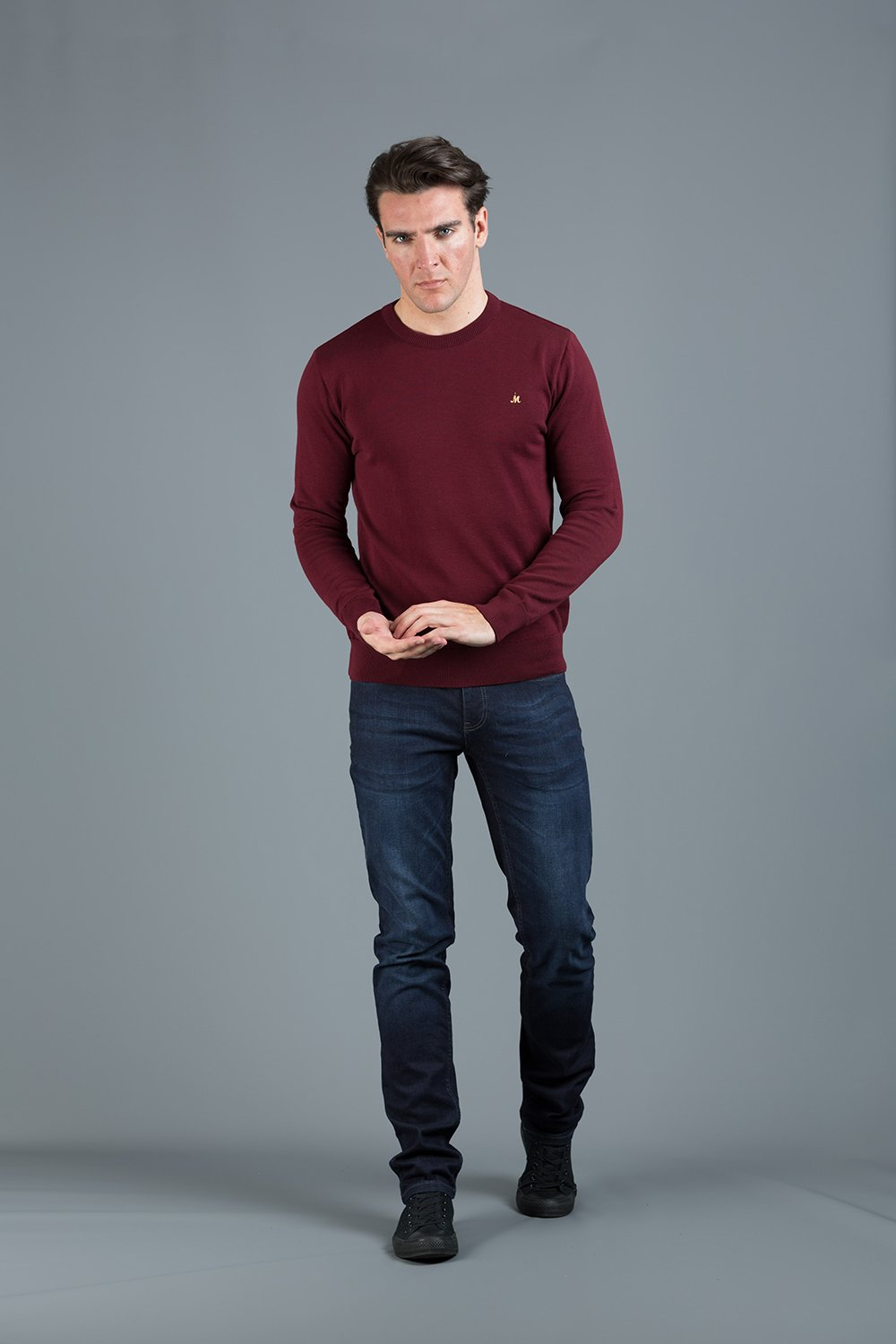 ARIANA 100%COTTON  BURGUNDY CREW NECK KNITWEAR