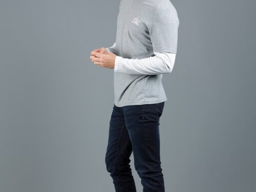KREK GREY MARL / WHITE LS TOP