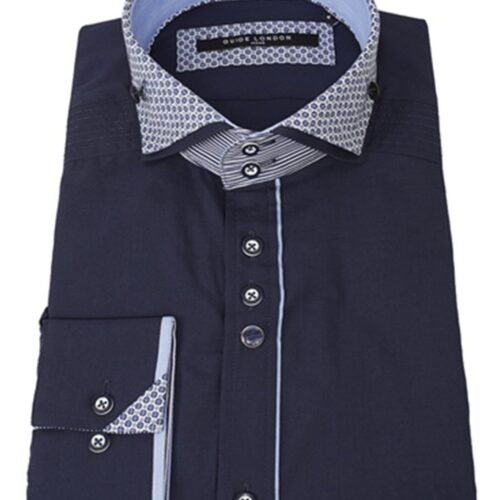 Slim Fit Shirt with Contrast Cutaway Collar