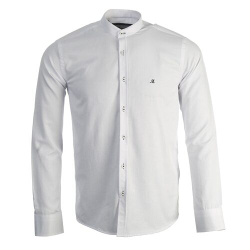 BUDA WHITE LONG SLEEVE GRANDAD SHIRT