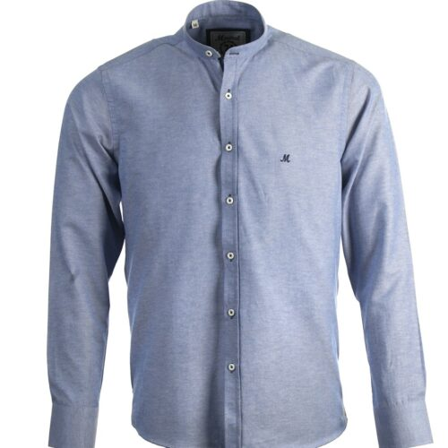BUDA DENIM BLUE LONG SLEEVE GRANDFATHER COLLAR SHIRT