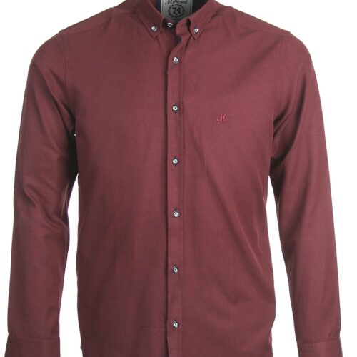 LOLLAND OXFORD LONG SLEEVE SHIRT BURGUNDY