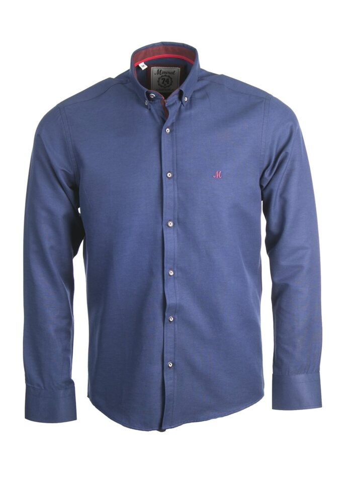 LOLLAND NAVY OXFORD LONG SLEEVE  SHIRT