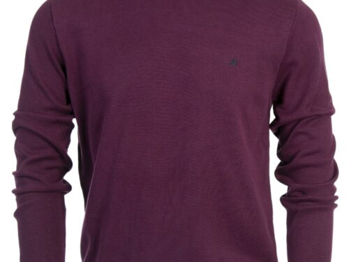 ARIANA 100%COTTON AUBERGINE CREW KNIT COTTON