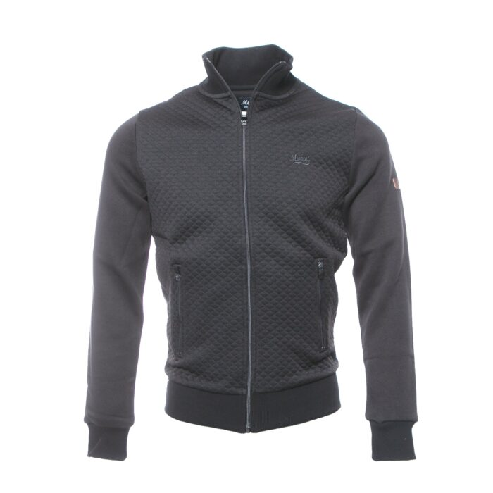 LEBRE BLACK  FULL ZIP QUILTED SWEATSHIRT