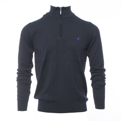 ALTIS  1/4 ZIP NAVY 100%COTTON KNITWEAR