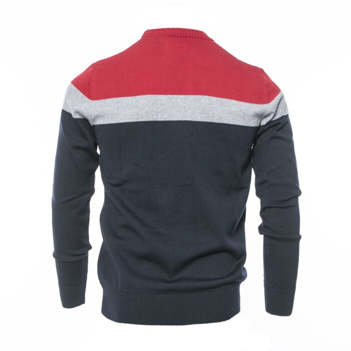 ISLONA CHERRY/GREY/NAVY COTTON CREW KNITWEAR