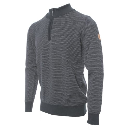 PEGASIN BLACK/CHARCOAL HALF ZIP KNITWEAR