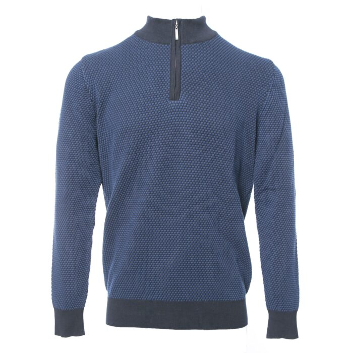 PEGASIN NAVY/BLUE HALF ZIP KNITWEAR
