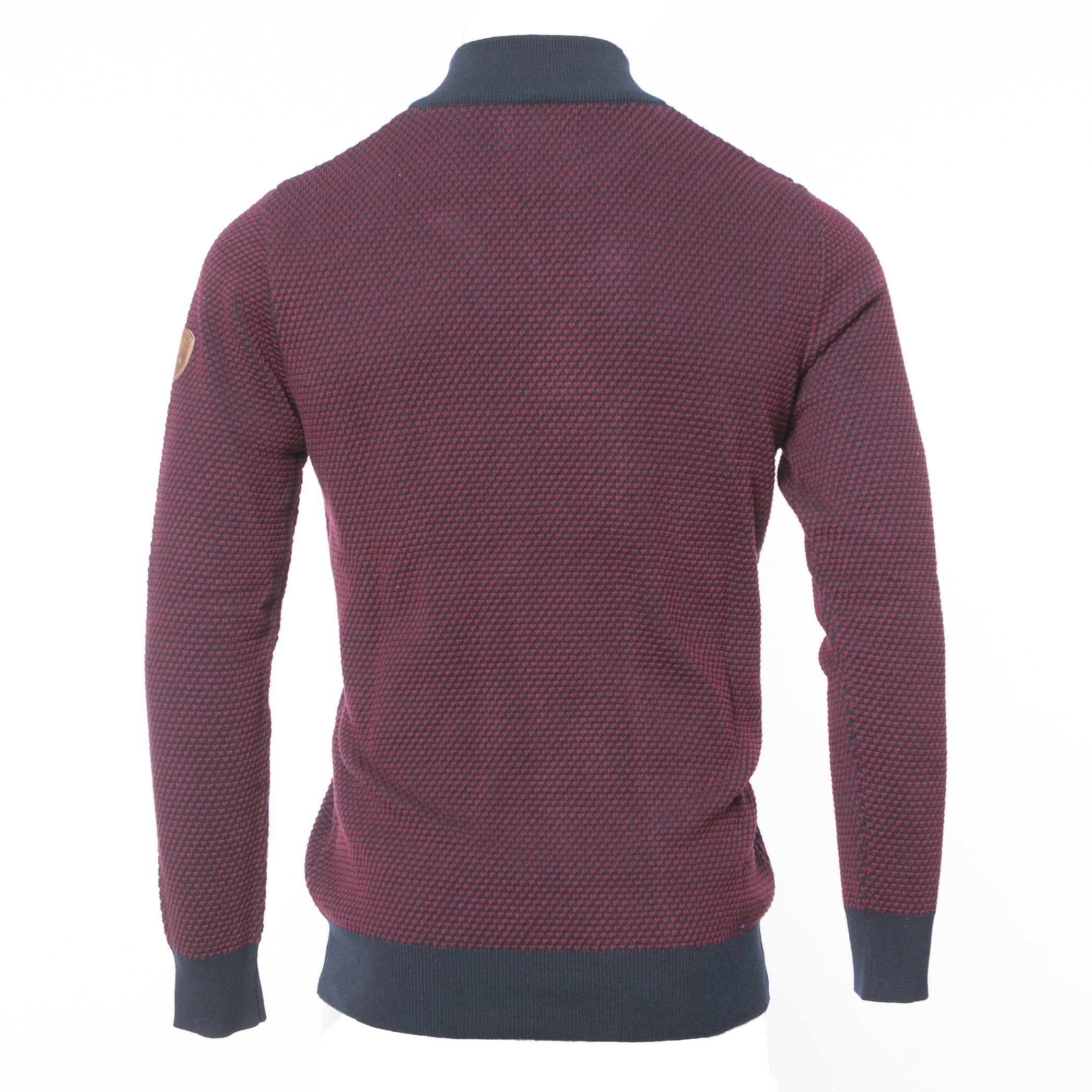 PEGASIN NAVY/BURGUNDY HALF ZIP KNITWEAR
