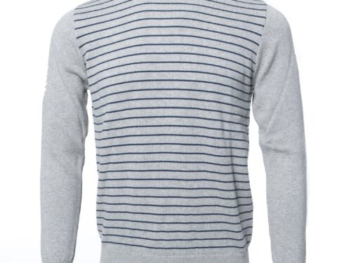 FRANZ GREY/DARK BLUE CREW NECK KNIT