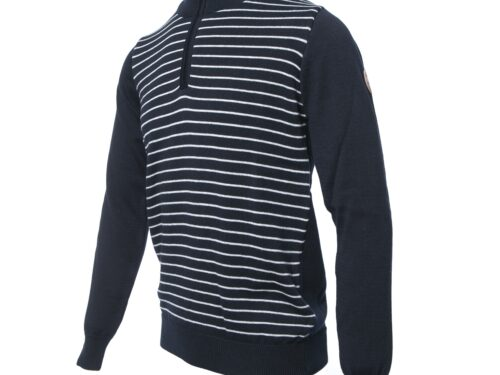 SABLE NAVY/GREY HALF ZIP KNITWEAR