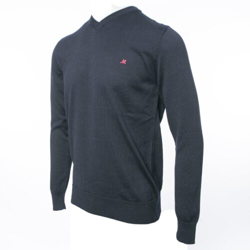 AZENHA NAVY V NECK COTTON KNITWEAR