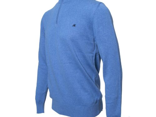 ALTIS  100% COTTON MID BLUE ZIP NECK KNITWEAR