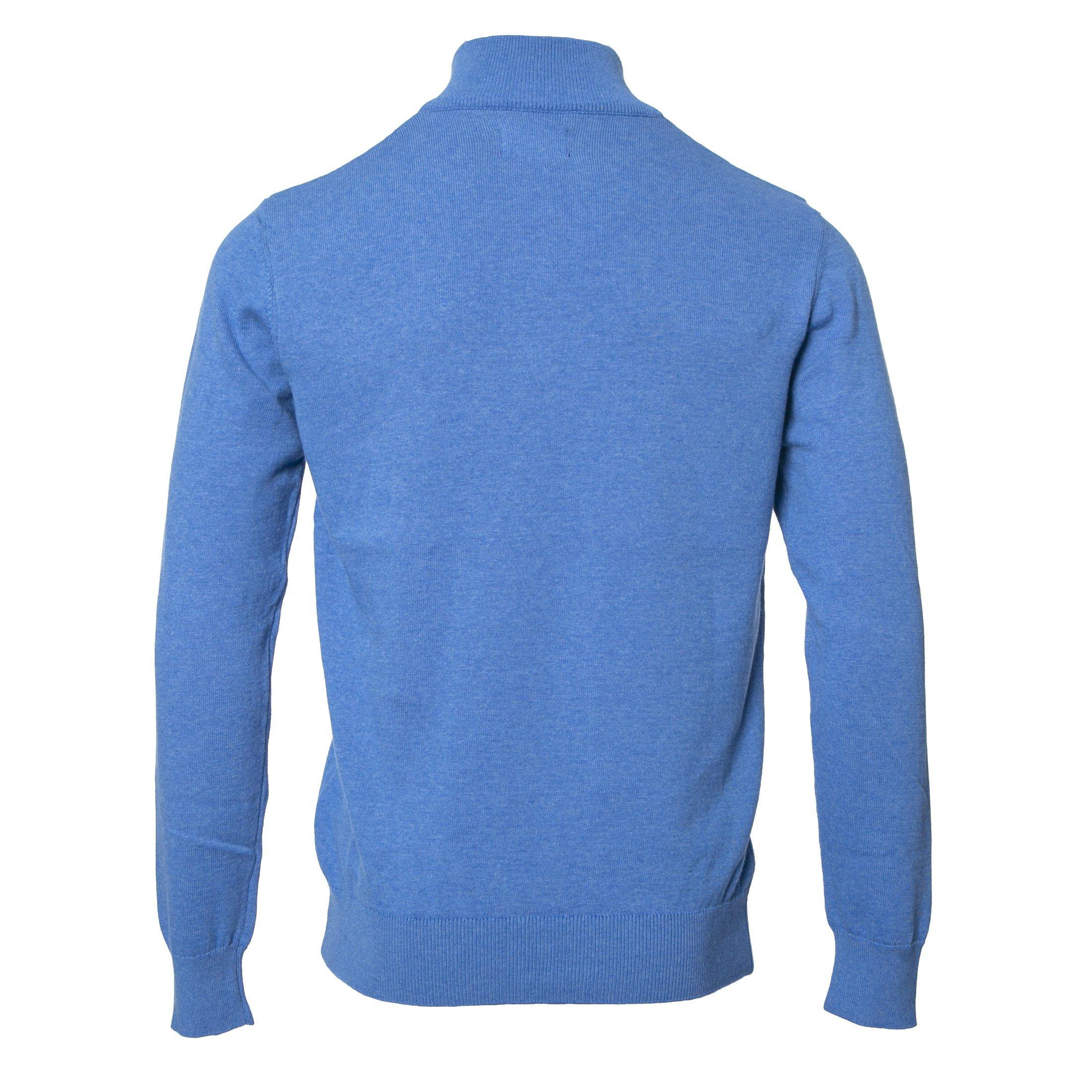 ALTIS  100% COTTON MID BLUE ZIP NECK KNITWEAR