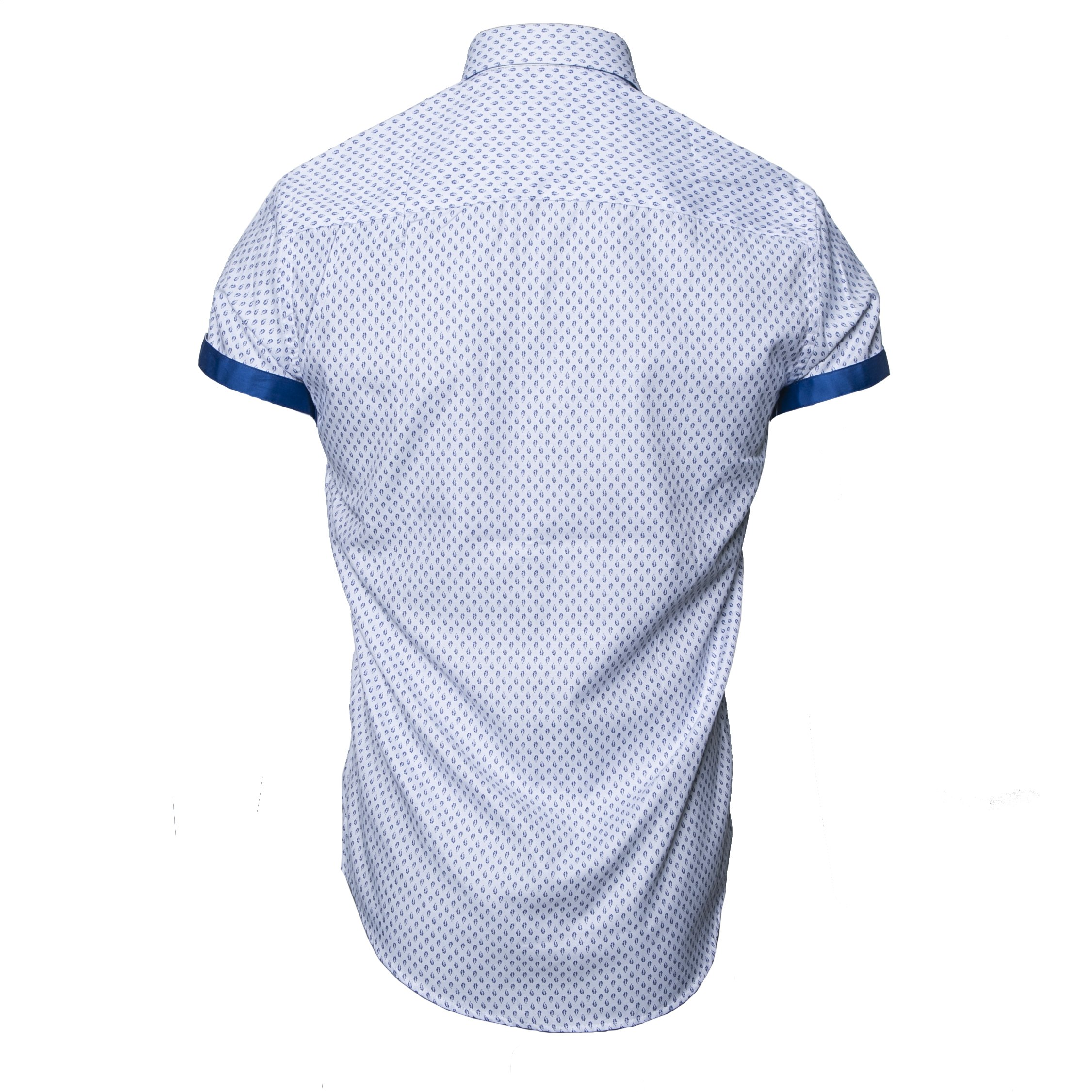 MIURA WHITE/BLUE SHORT SLEEVE SHIRT