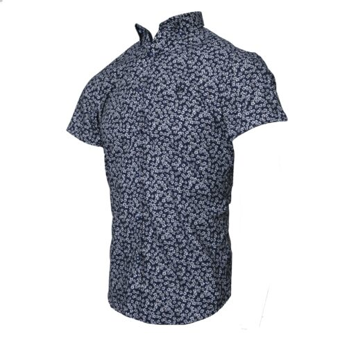 MANO NAVY FLORAL PRINT SHORT SLEEVE SHIRT
