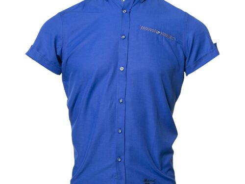TOLKA DARK BLUE SHORT SLEEVE OXFORD SHIRT