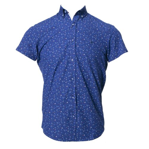 PEDRO ROYAL BLUE FLORAL PRINT SHORT SLEEVE SHIRT