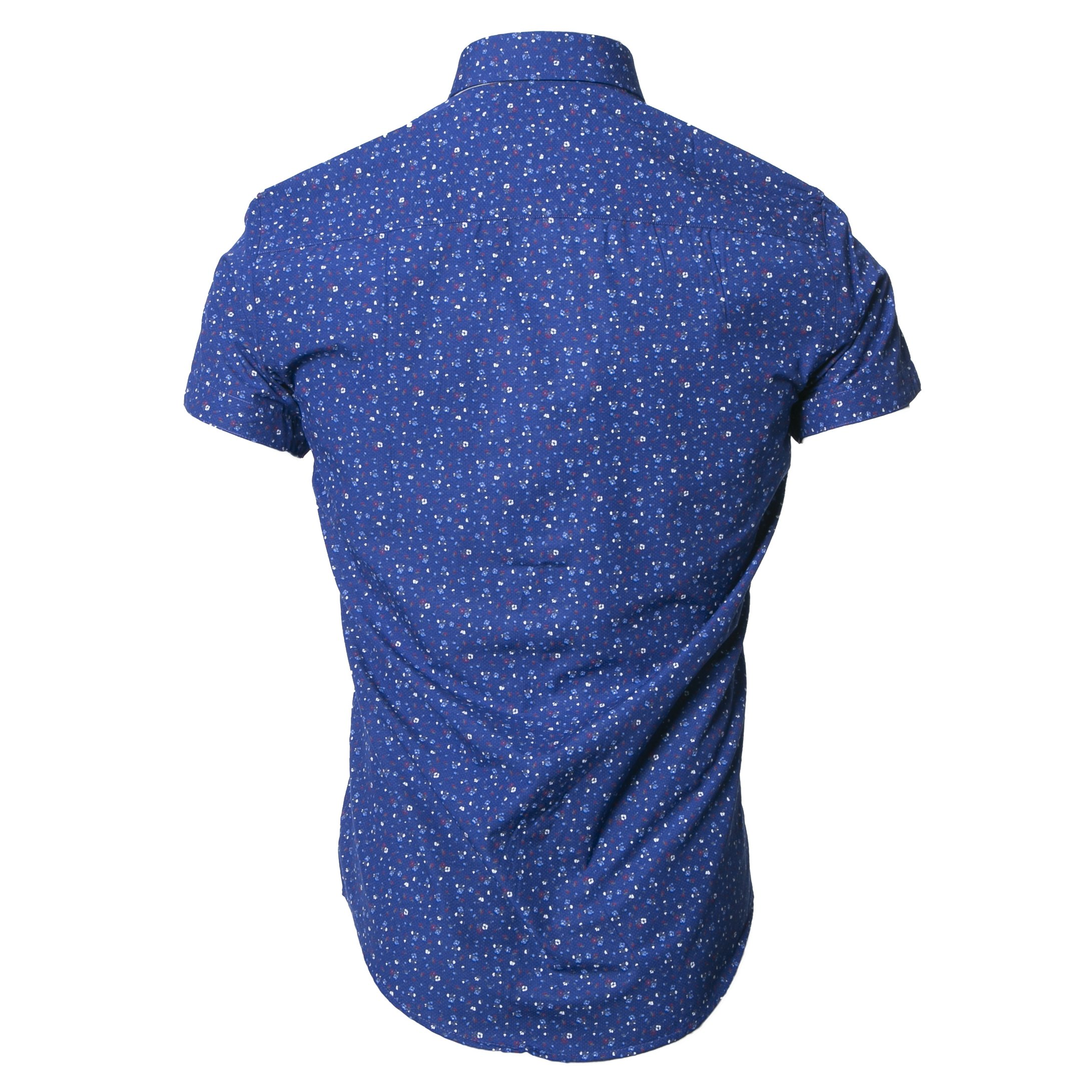 PEDRO ROYAL BLUE FLORAL PRINT SHORT SLEEVE SHIRT