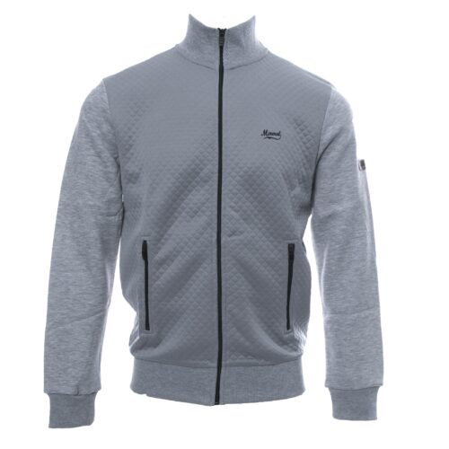 LEBRE GREY FULL ZIP QUILTED SWEATSHIRT