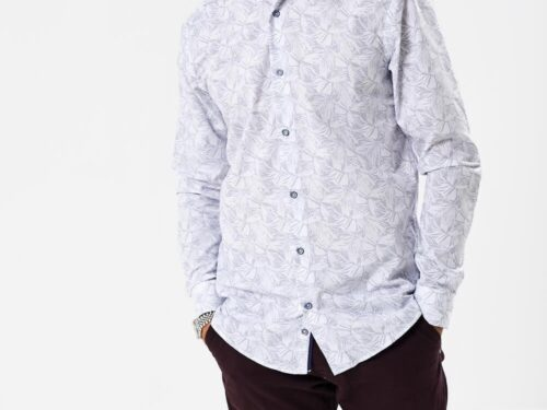 white long sleeve shirt with navy print
