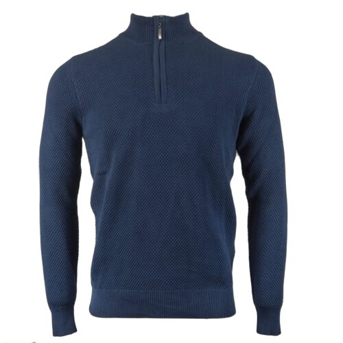 BREWSTER DARK BLUE HALF ZIP KNITWEAR