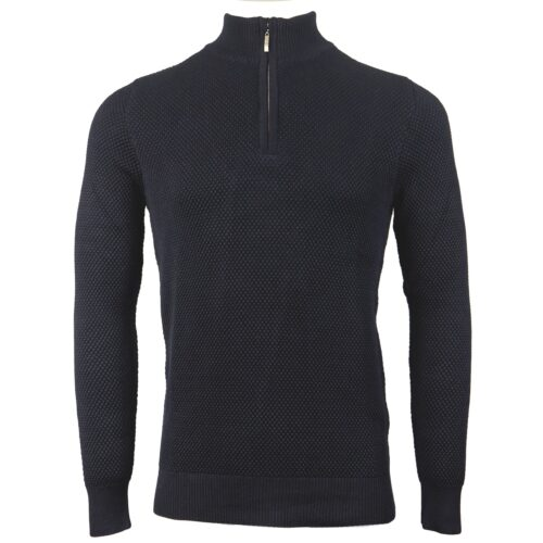 BREWSTER NAVY HALF ZIP NECK KNITWEAR