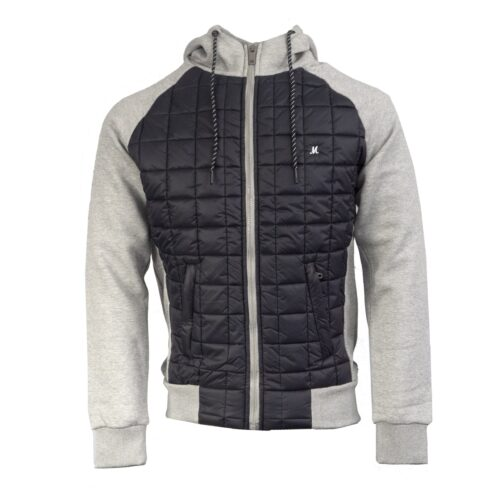 AMUND BLACK/GREY NYLON BODY ZIP HOOD