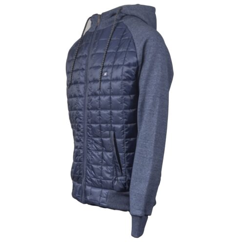 AMUND NAVY FULL ZIP FLEECE/NYLON HOOD