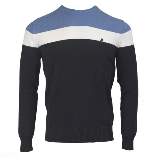 ISLONA MIDBLUE/WHITE/NAVY COTTON CREW KNITWEAR