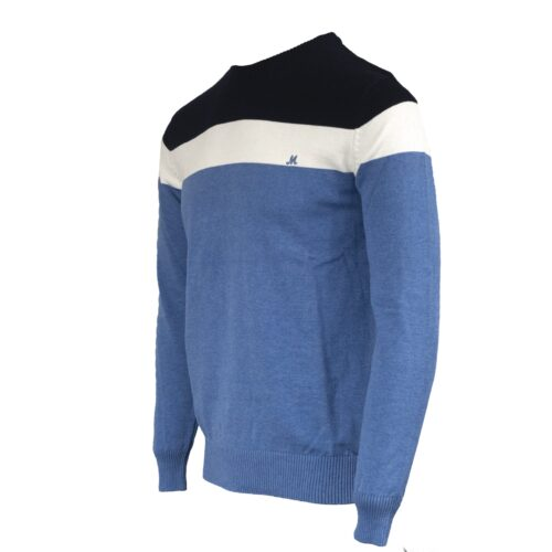 ISLONA NAVY/WHITE COTTON CREW KNITWEAR