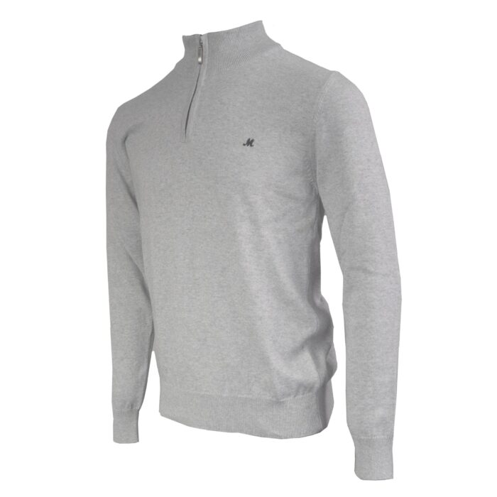 ALTIS  100% COTTON OPTIC GREY 1/4 ZIP KNITWEAR