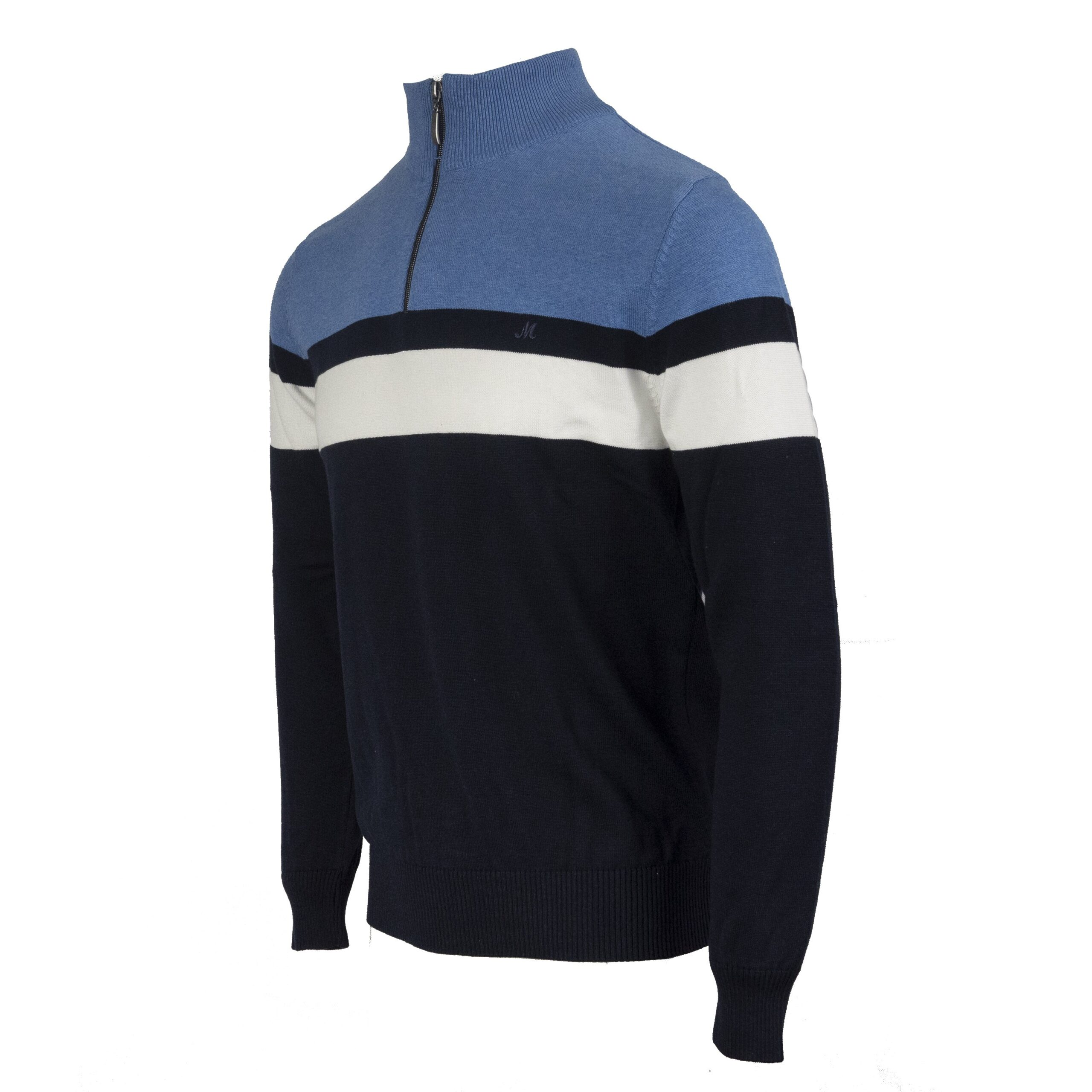 SOFIA MID-BLUE/NAVY/OFF-WHITE 1/4 ZIP KNITWEAR