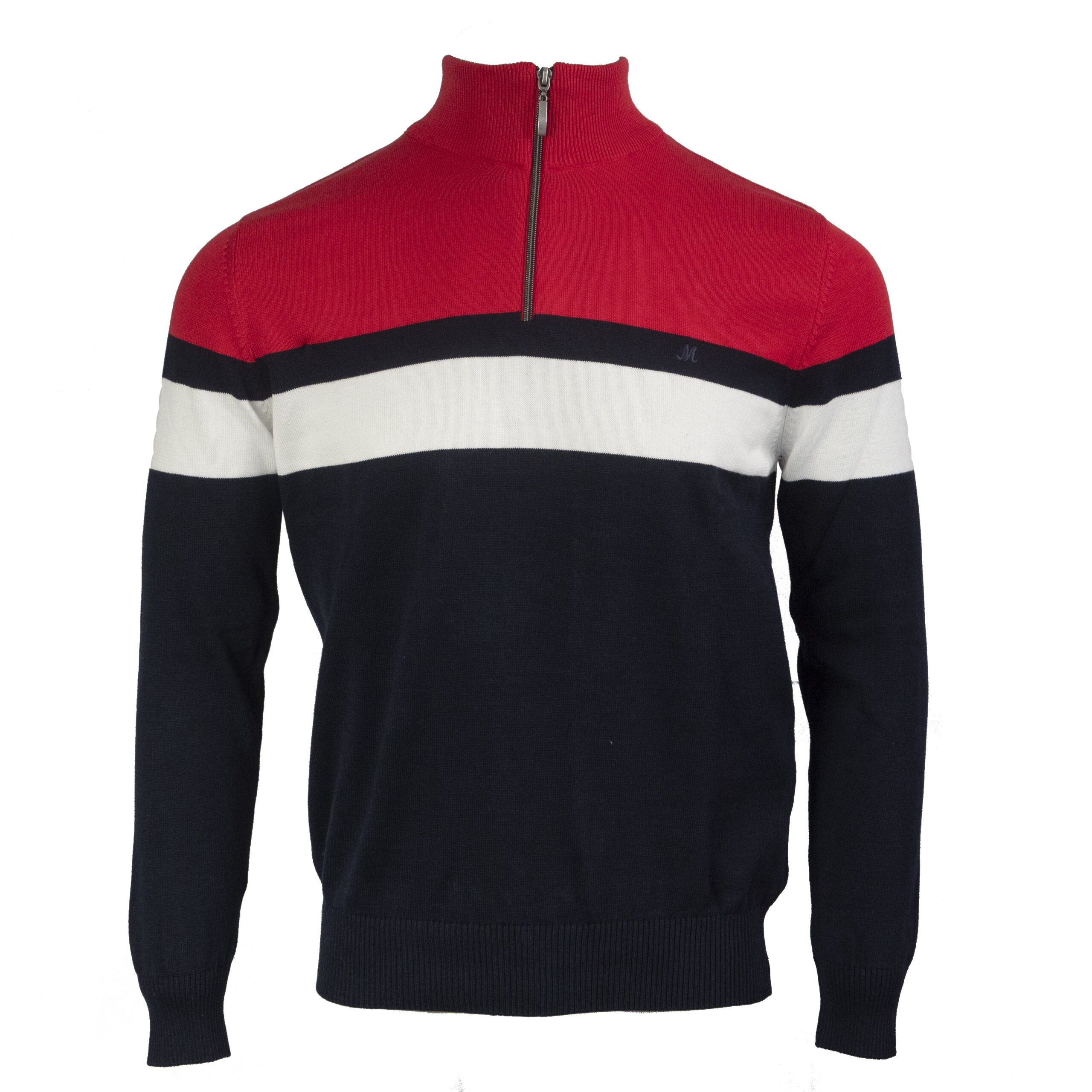 SOFIA RED 100% COTTON 1/4 ZIP KNITWEAR