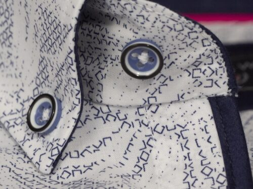 BISCAY WHITE/NAVY PRINTED LONGSLEEVE SHIRT