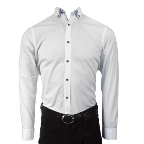 BRUTSCH WHITE/BLUE LONGSLEEVE SHIRT