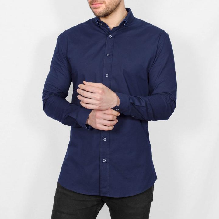 Dotty long sleeve  navy shirt