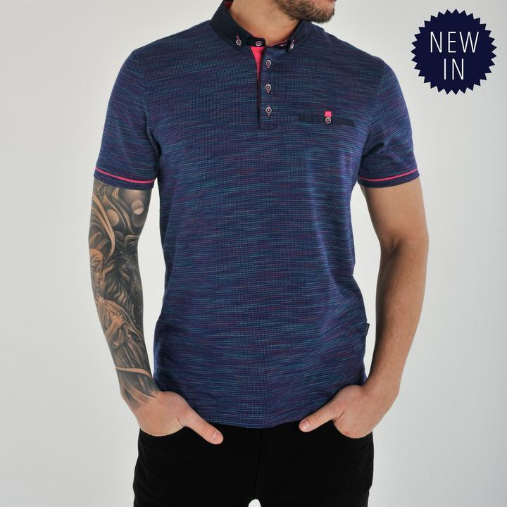 SANDRO  NAVY/PINK SHORT SLEEVE POLO
