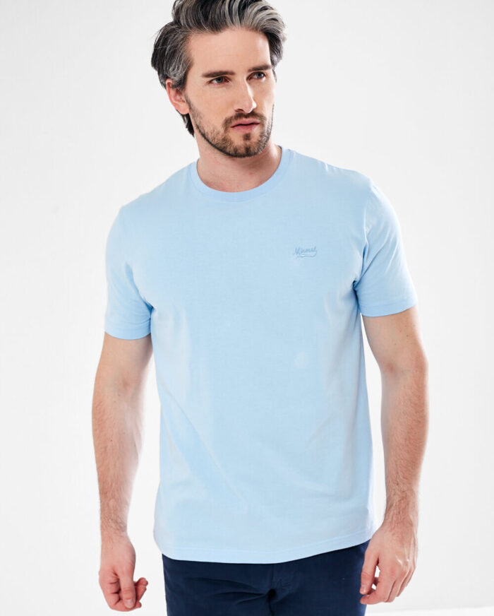 sly blue tee shirt