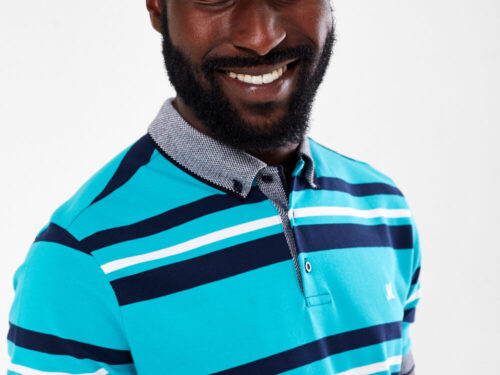 TEAL STRIPE POLO