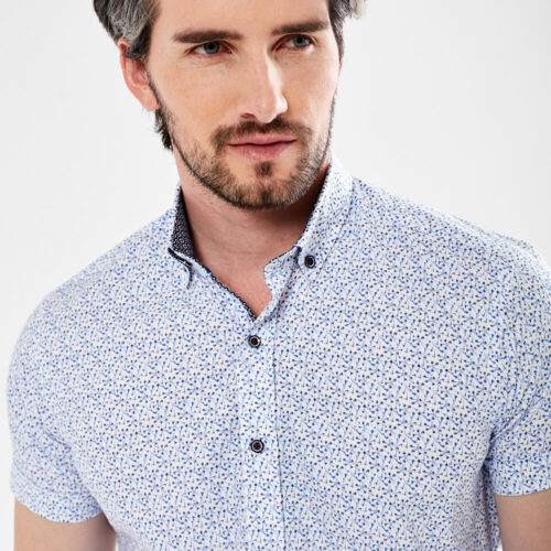 short sleeve shirt with floral sky print